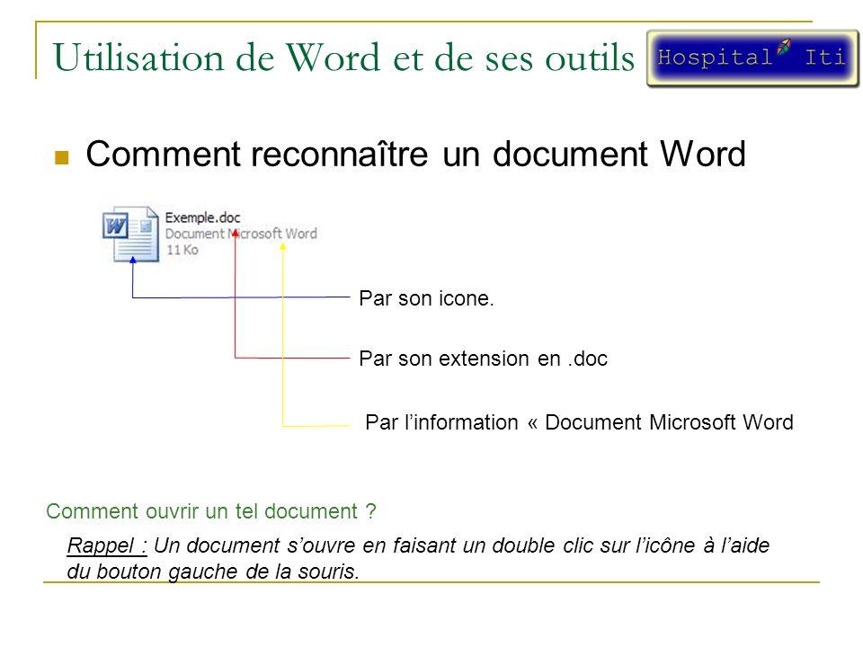 Utilisation de Word et de ses outils Comment reconnaître un document Word Par son icone.