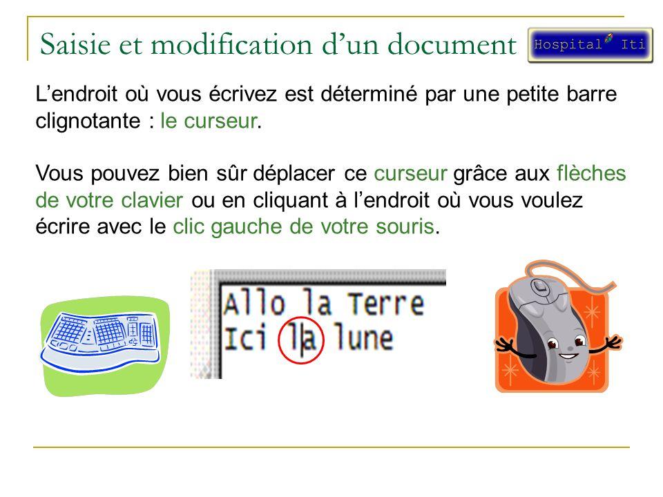 Saisie et modification dun document Lendroit où vous écrivez est déterminé par une petite barre clignotante : le curseur.