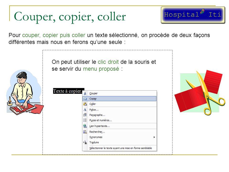 Couper, copier, coller Pour couper, copier puis coller un texte sélectionné, on procède de deux façons différentes mais nous en ferons quune seule : On peut utiliser le clic droit de la souris et se servir du menu proposé :