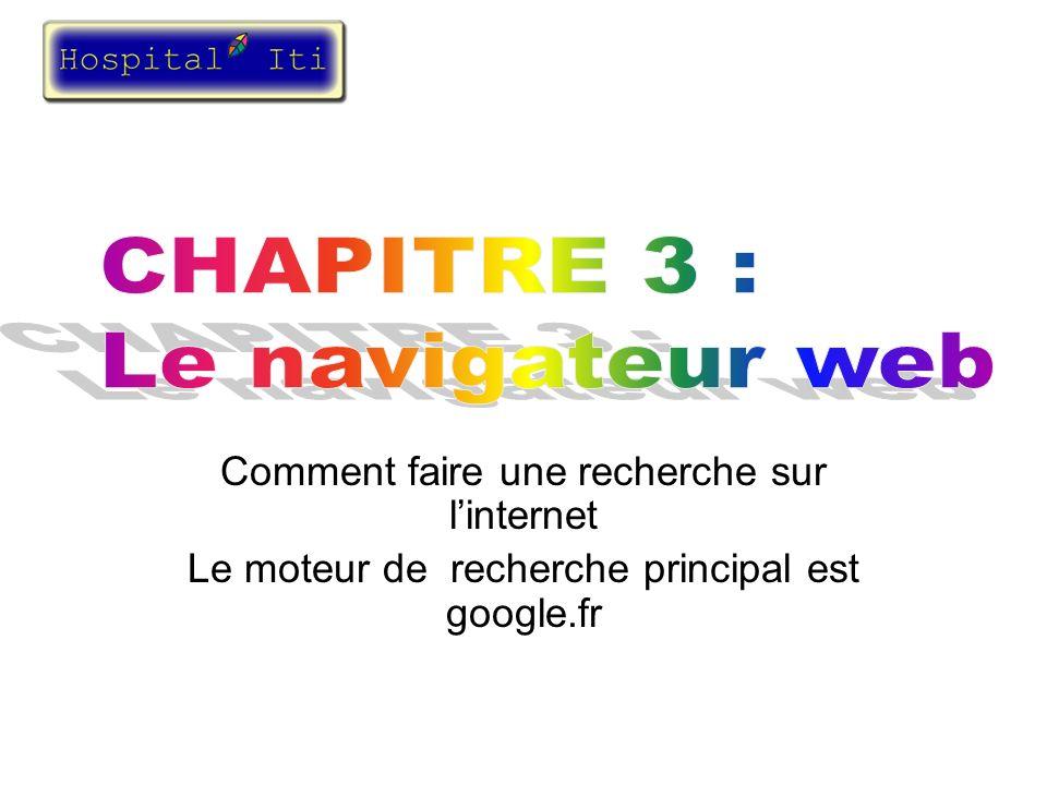 Recherche sur le web Recherche dun site internet en tapant un mot clef Taper votre mot clef ici Cliquer sur le bouton recherche google Pages web en anglais Pages web en français Pages web en français - anglais