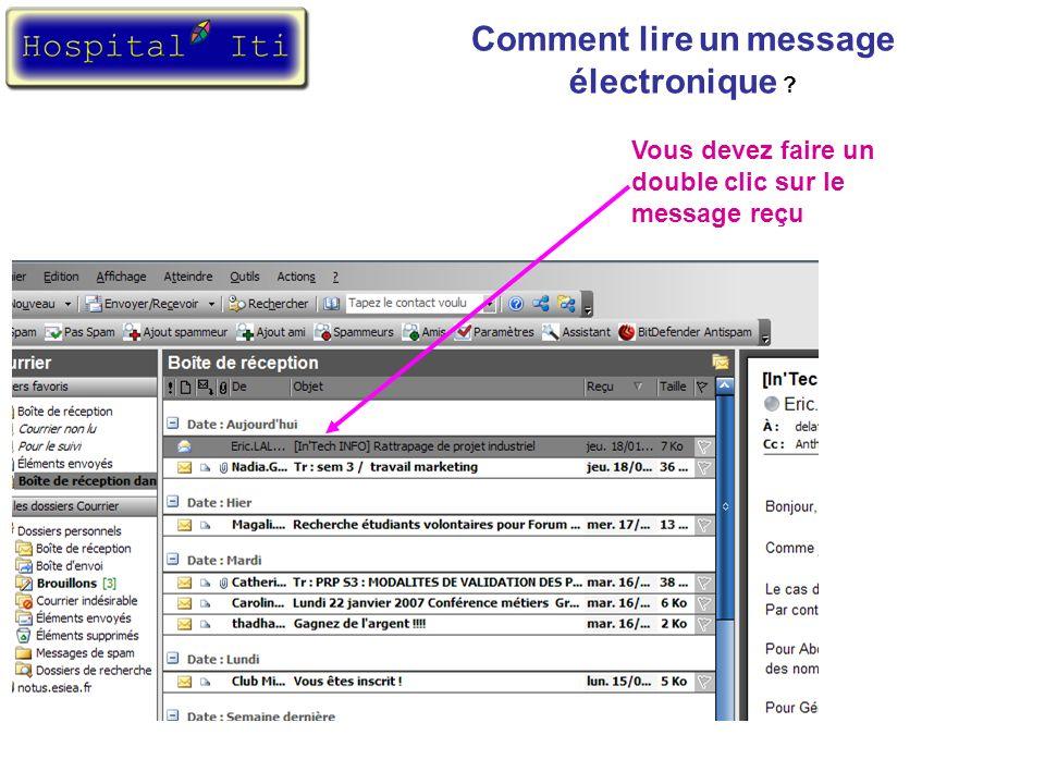 Une fenêtre apparaît avec le contenu du message.
