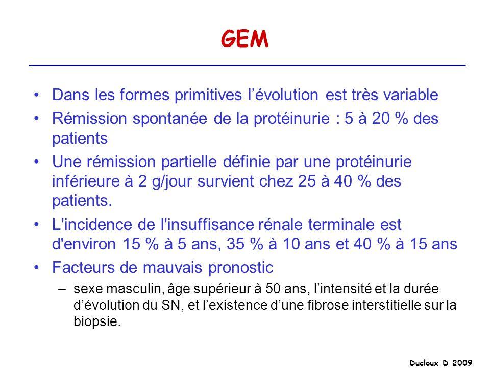 Ducloux D 2009 GEM Dans les formes primitives lévolution est très variable Rémission spontanée de la protéinurie : 5 à 20 % des patients Une rémission