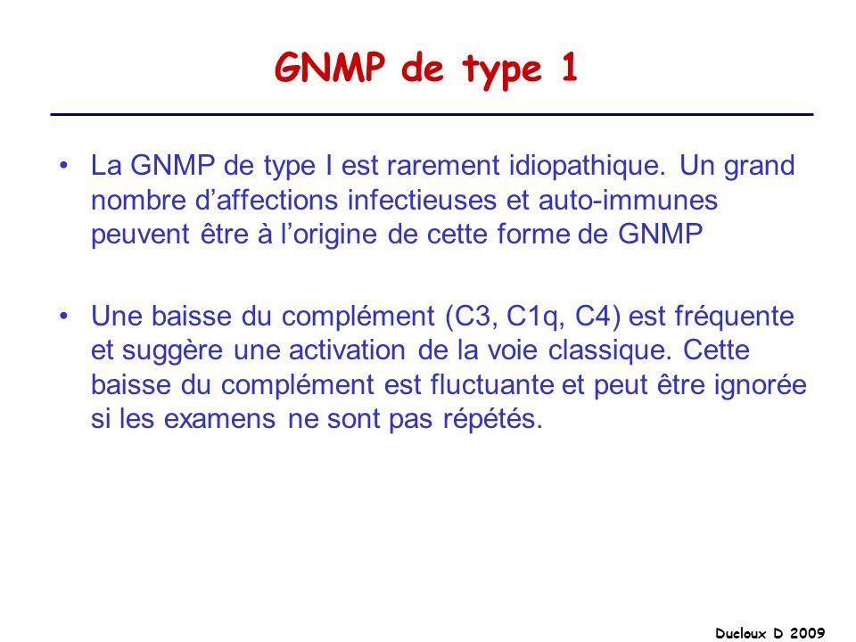 GNMP de type 1 La GNMP de type I est rarement idiopathique. Un grand nombre daffections infectieuses et auto-immunes peuvent être à lorigine de cette