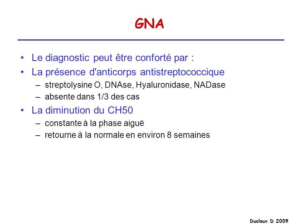 Ducloux D 2009 GNA Le diagnostic peut être conforté par : La présence d'anticorps antistreptococcique –streptolysine O, DNAse, Hyaluronidase, NADase –