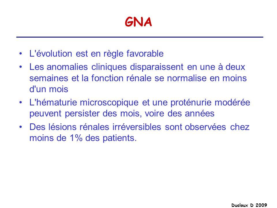 GNA L'évolution est en règle favorable Les anomalies cliniques disparaissent en une à deux semaines et la fonction rénale se normalise en moins d'un m