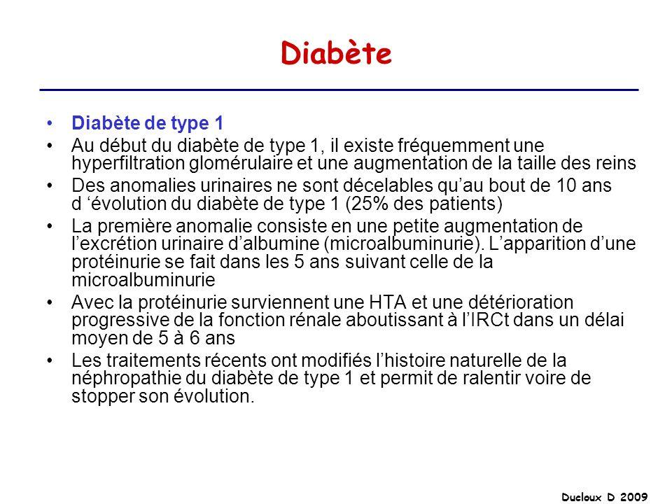 Ducloux D 2009 Diabète Diabète de type 1 Au début du diabète de type 1, il existe fréquemment une hyperfiltration glomérulaire et une augmentation de