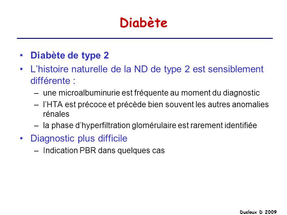 Ducloux D 2009 Diabète Diabète de type 2 Lhistoire naturelle de la ND de type 2 est sensiblement différente : –une microalbuminurie est fréquente au m