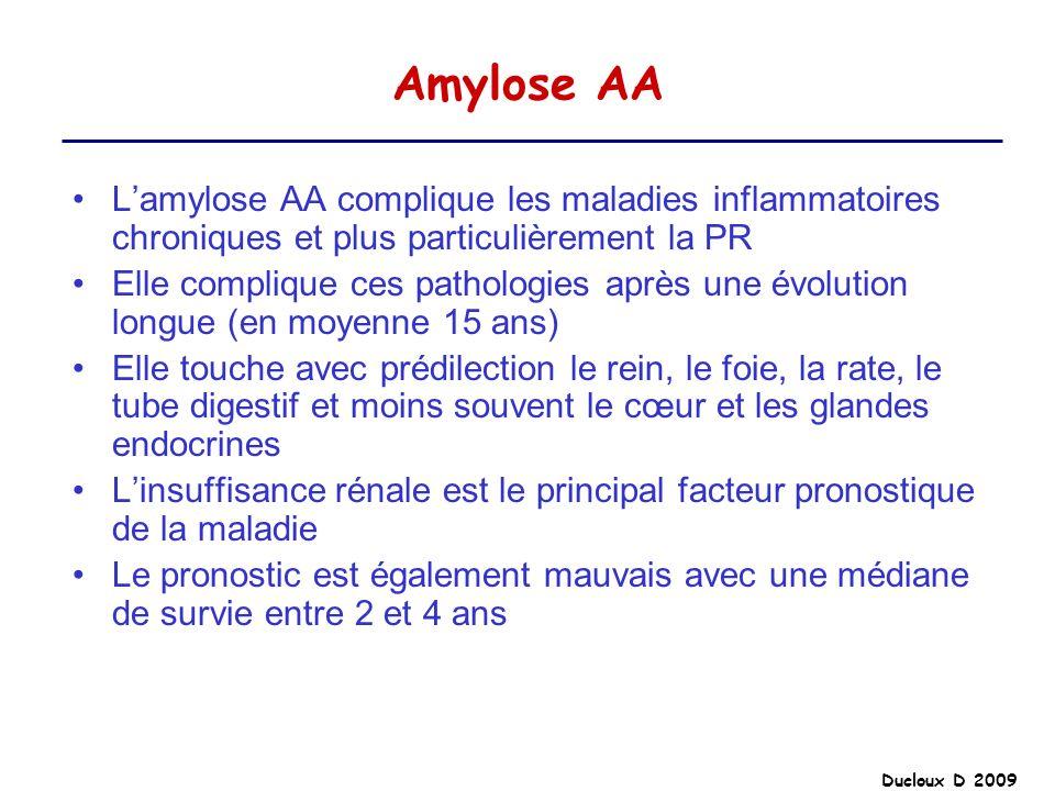 Ducloux D 2009 Amylose AA Lamylose AA complique les maladies inflammatoires chroniques et plus particulièrement la PR Elle complique ces pathologies a
