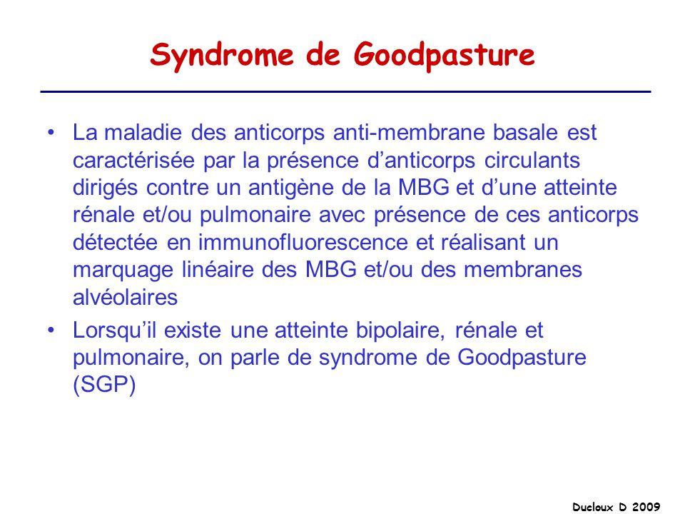 Ducloux D 2009 Syndrome de Goodpasture La maladie des anticorps anti-membrane basale est caractérisée par la présence danticorps circulants dirigés co