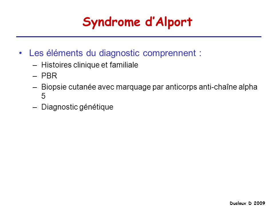 Ducloux D 2009 Syndrome dAlport Les éléments du diagnostic comprennent : –Histoires clinique et familiale –PBR –Biopsie cutanée avec marquage par anti