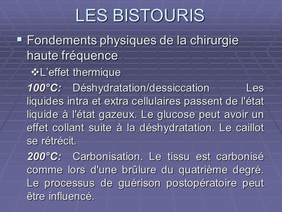 LES BISTOURIS Fondements physiques de la chirurgie haute fréquence Fondements physiques de la chirurgie haute fréquence Leffet thermique Leffet thermi