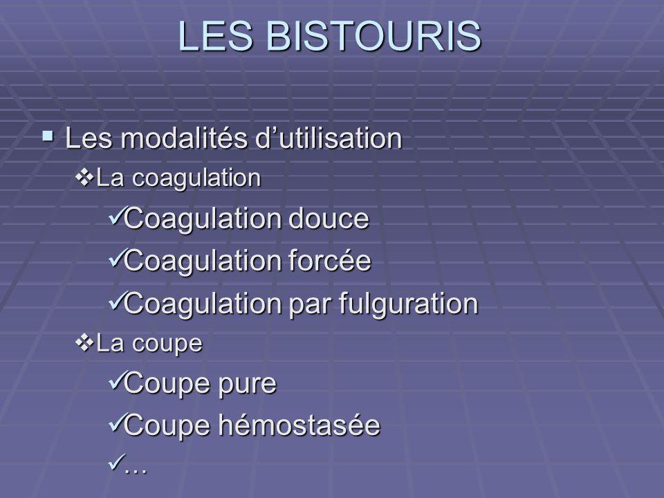 LES BISTOURIS Les modalités dutilisation Les modalités dutilisation La coagulation La coagulation Coagulation douce Coagulation douce Coagulation forc