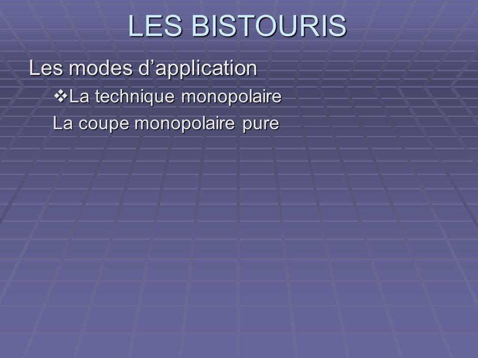 LES BISTOURIS Les modes dapplication La technique monopolaire La technique monopolaire La coupe monopolaire pure