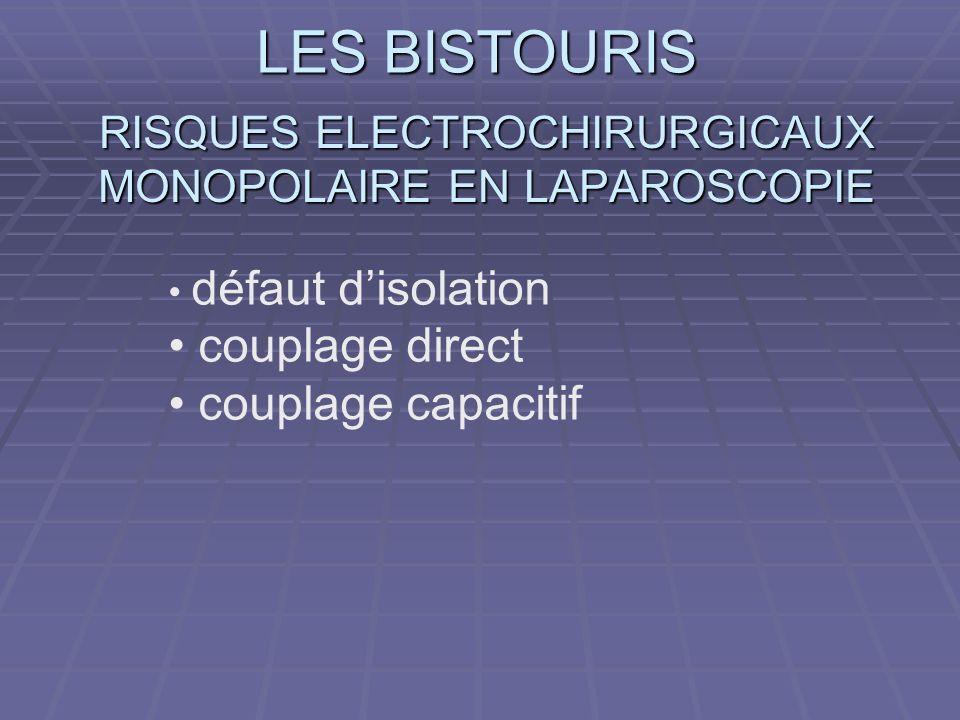 LES BISTOURIS RISQUES ELECTROCHIRURGICAUX MONOPOLAIRE EN LAPAROSCOPIE défaut disolation couplage direct couplage capacitif