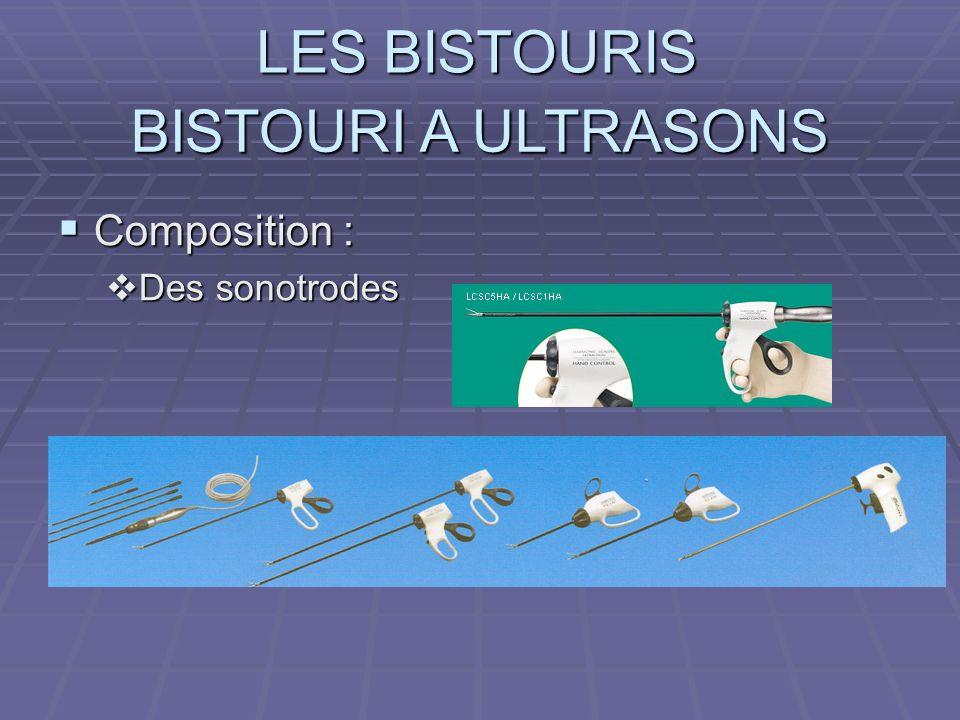 LES BISTOURIS BISTOURI A ULTRASONS Composition : Composition : Des sonotrodes Des sonotrodes