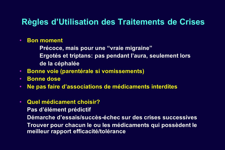 Règles dUtilisation des Traitements de Crises Bon moment Précoce, mais pour une vraie migraine Ergotés et triptans: pas pendant laura, seulement lors
