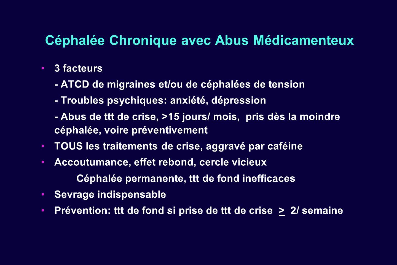 Céphalée Chronique avec Abus Médicamenteux 3 facteurs - ATCD de migraines et/ou de céphalées de tension - Troubles psychiques: anxiété, dépression - A