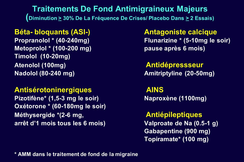 Traitements De Fond Antimigraineux Majeurs ( Diminution > 30% De La Fréquence De Crises/ Placebo Dans > 2 Essais) Béta- bloquants (ASI-)Antagoniste ca