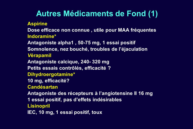 Autres Médicaments de Fond (1) Aspirine Dose efficace non connue, utile pour MAA fréquentes Indoramine* Antagoniste alpha1, 50-75 mg, 1 essai positif