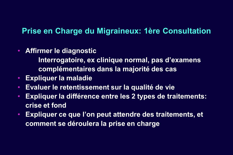 Prise en Charge du Migraineux: 1ère Consultation Affirmer le diagnostic Interrogatoire, ex clinique normal, pas dexamens complémentaires dans la major
