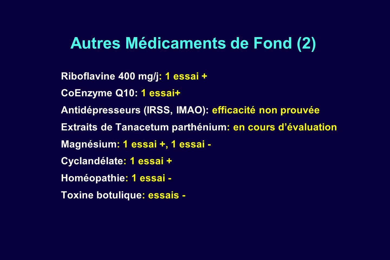 Autres Médicaments de Fond (2) Riboflavine 400 mg/j: 1 essai + CoEnzyme Q10: 1 essai+ Antidépresseurs (IRSS, IMAO): efficacité non prouvée Extraits de