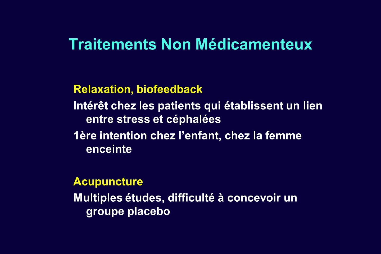 Traitements Non Médicamenteux Relaxation, biofeedback Intérêt chez les patients qui établissent un lien entre stress et céphalées 1ère intention chez
