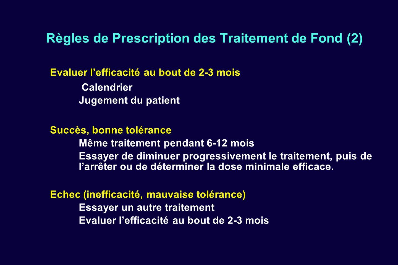 Règles de Prescription des Traitement de Fond (2) Evaluer lefficacité au bout de 2-3 mois Calendrier Jugement du patient Succès, bonne tolérance Même