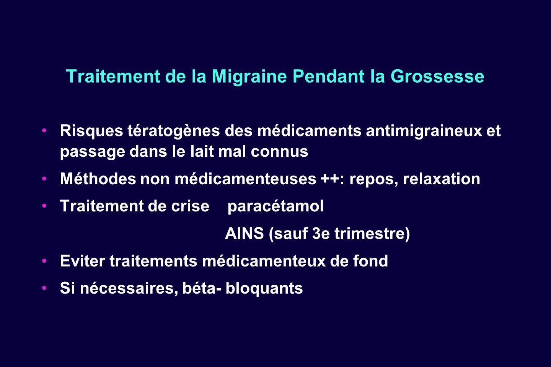 Traitement de la Migraine Pendant la Grossesse Risques tératogènes des médicaments antimigraineux et passage dans le lait mal connus Méthodes non médi