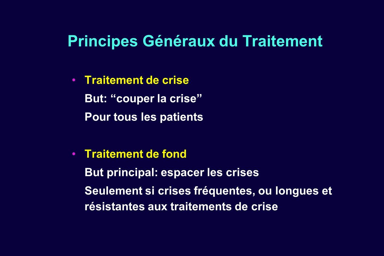 Principes Généraux du Traitement Traitement de crise But: couper la crise Pour tous les patients Traitement de fond But principal: espacer les crises