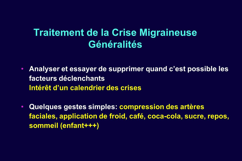 Traitement de la Crise Migraineuse Généralités Analyser et essayer de supprimer quand cest possible les facteurs déclenchants Intérêt dun calendrier d