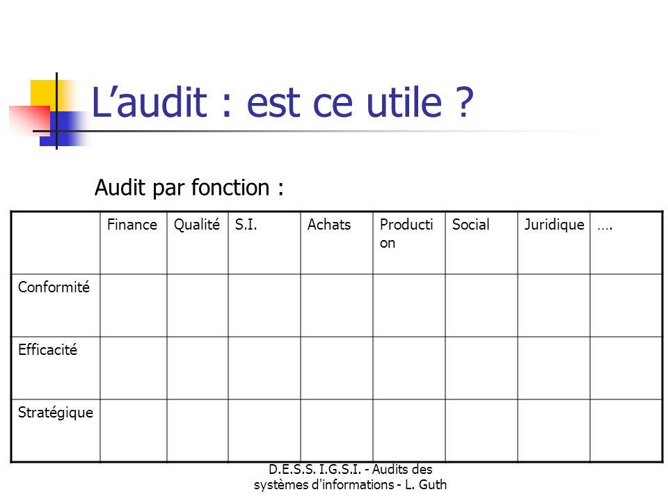 D.E.S.S. I.G.S.I. - Audits des systèmes d'informations - L. Guth Laudit : est ce utile ? Audit par fonction : FinanceQualitéS.I.AchatsProducti on Soci