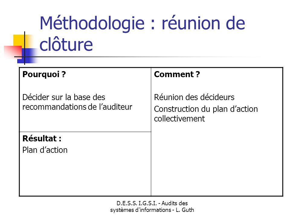 D.E.S.S. I.G.S.I. - Audits des systèmes d'informations - L. Guth Méthodologie : réunion de clôture Pourquoi ? Décider sur la base des recommandations
