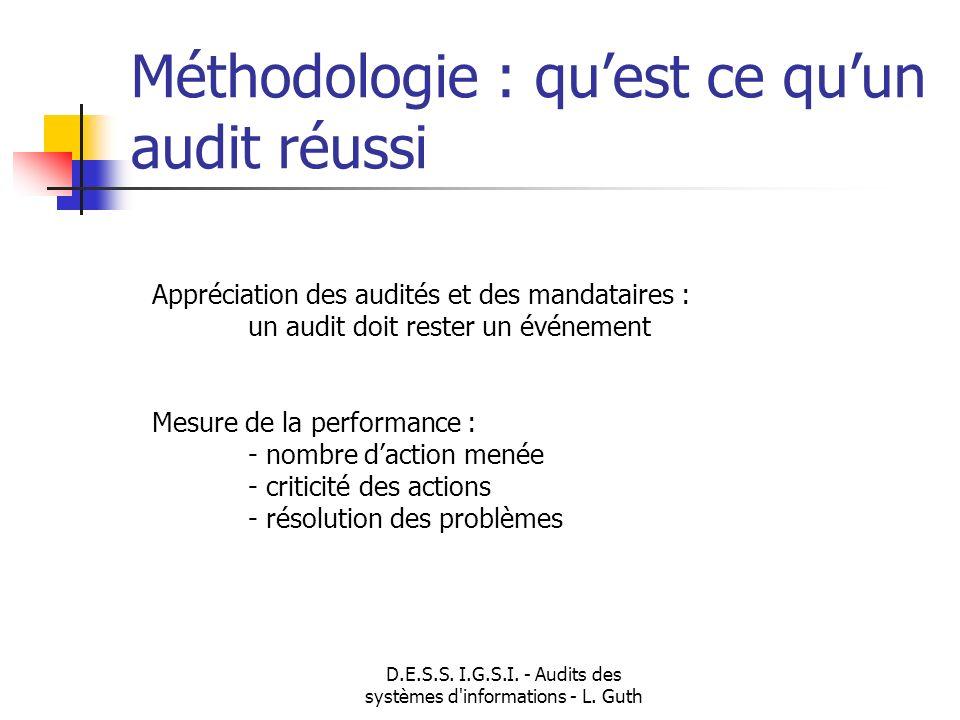 D.E.S.S. I.G.S.I. - Audits des systèmes d'informations - L. Guth Méthodologie : quest ce quun audit réussi Appréciation des audités et des mandataires