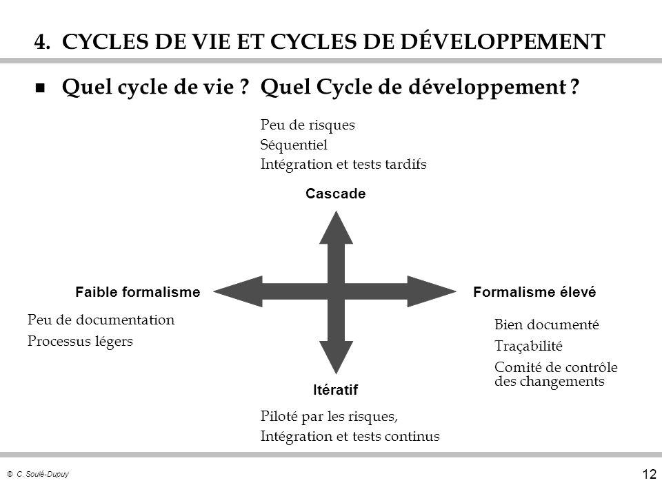 © C. Soulé-Dupuy 12 4. CYCLES DE VIE ET CYCLES DE DÉVELOPPEMENT n Quel cycle de vie ? Quel Cycle de développement ? Cascade Itératif Bien documenté Tr