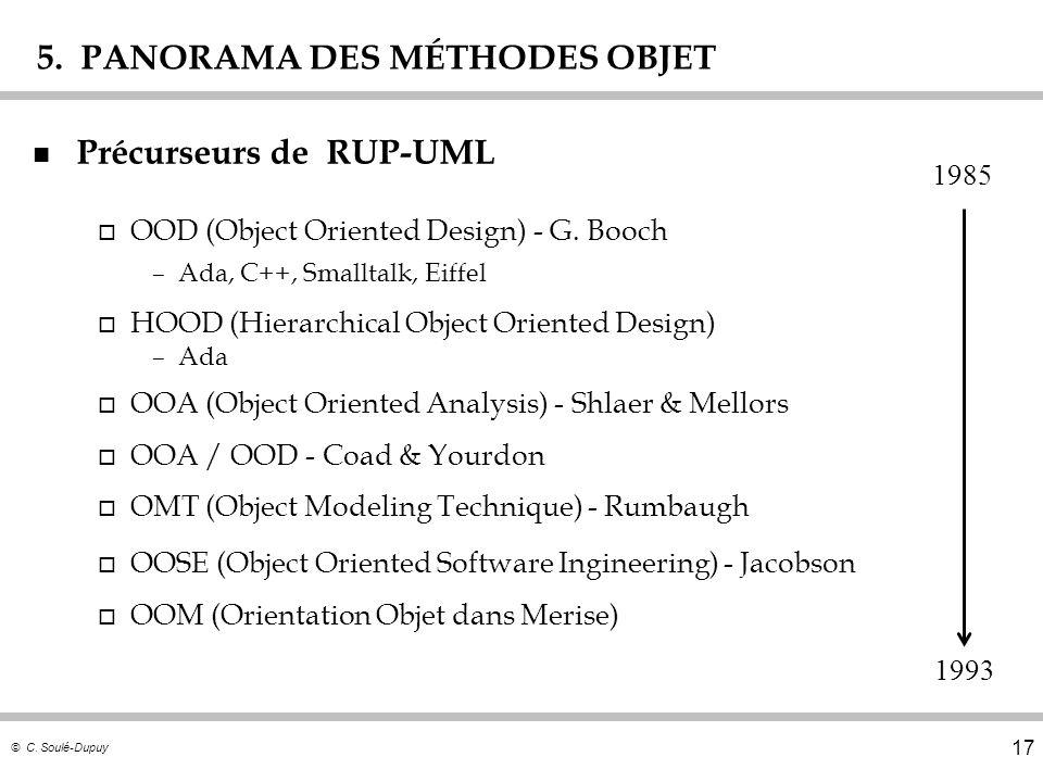 © C. Soulé-Dupuy 17 5. PANORAMA DES MÉTHODES OBJET n Précurseurs de RUP-UML o OOD (Object Oriented Design) - G. Booch –Ada, C++, Smalltalk, Eiffel o H