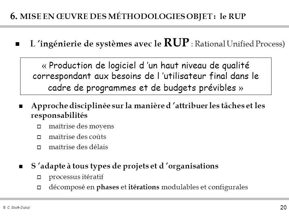 © C. Soulé-Dupuy 20 6. MISE EN ŒUVRE DES MÉTHODOLOGIES OBJET : le RUP n L ingénierie de systèmes avec le RUP : Rational Unified Process) n Approche di