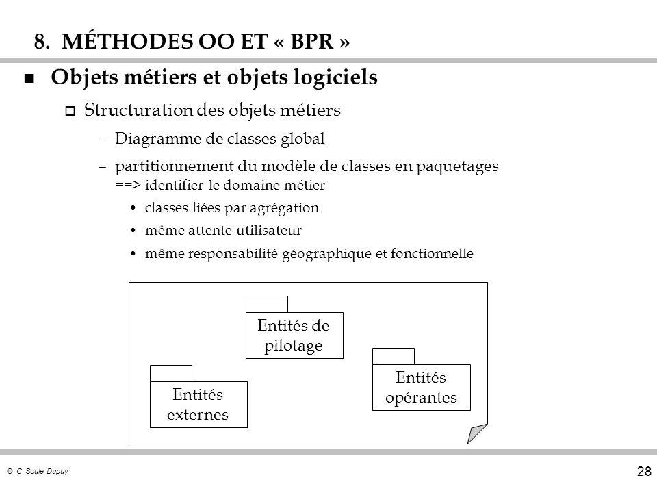 © C. Soulé-Dupuy 28 n Objets métiers et objets logiciels o Structuration des objets métiers –Diagramme de classes global –partitionnement du modèle de