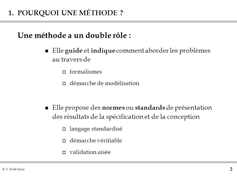 © C. Soulé-Dupuy 3 1. POURQUOI UNE MÉTHODE ? n Elle guide et indique comment aborder les problèmes au travers de o formalismes o démarche de modélisat