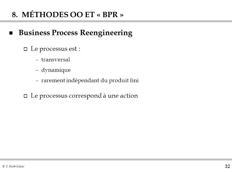 © C. Soulé-Dupuy 32 n Business Process Reengineering o Le processus est : –transversal –dynamique –rarement indépendant du produit fini o Le processus