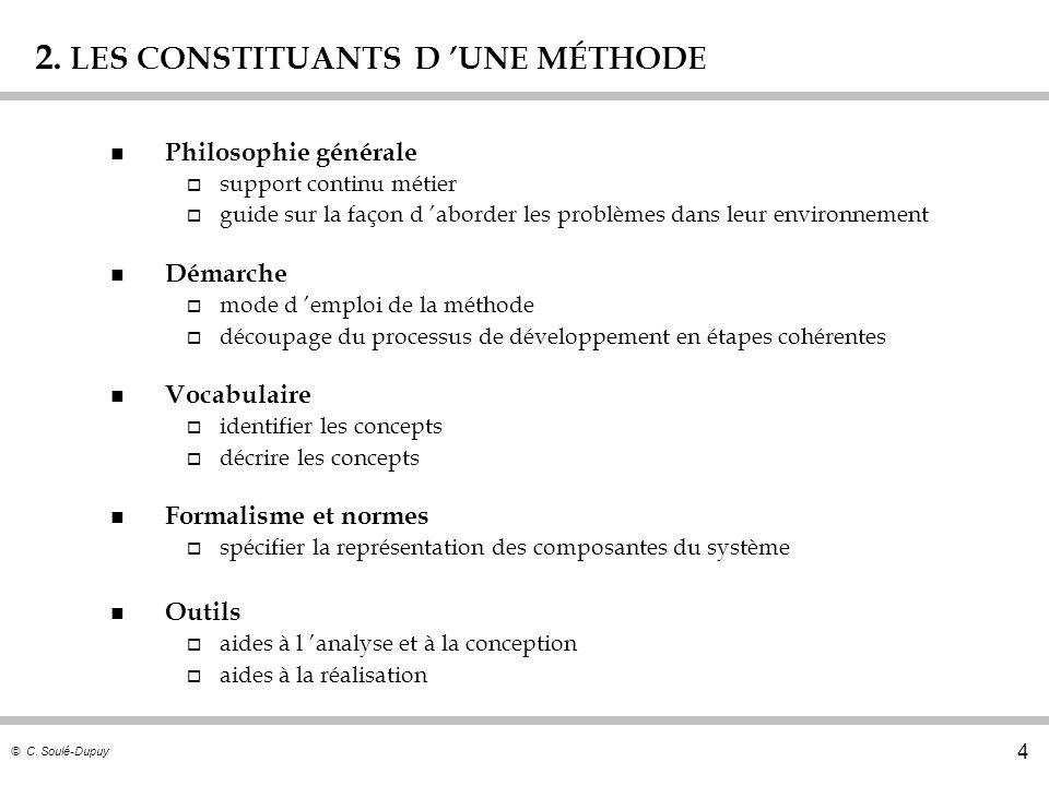 © C. Soulé-Dupuy 4 2. LES CONSTITUANTS D UNE MÉTHODE n Philosophie générale o support continu métier o guide sur la façon d aborder les problèmes dans
