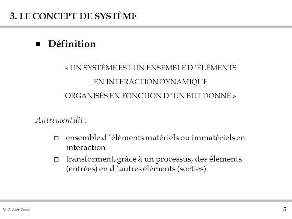 © C. Soulé-Dupuy 5 3. LE CONCEPT DE SYSTÈME n Définition Autrement dit : o ensemble d éléments matériels ou immatériels en interaction o transforment,