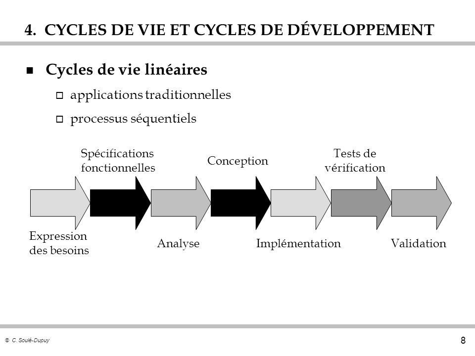 © C. Soulé-Dupuy 8 4. CYCLES DE VIE ET CYCLES DE DÉVELOPPEMENT n Cycles de vie linéaires o applications traditionnelles o processus séquentiels Expres