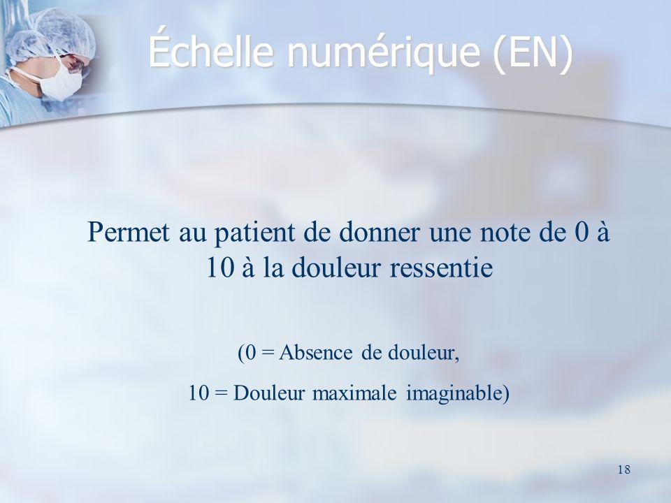 19 Échelle visuelle analogique (EVA) Méthode la plus utilisée, Méthode la plus utilisée, Il sagit dune méthode dauto-évaluation de la douleur faisant appel à une réglette comportant 2 faces.