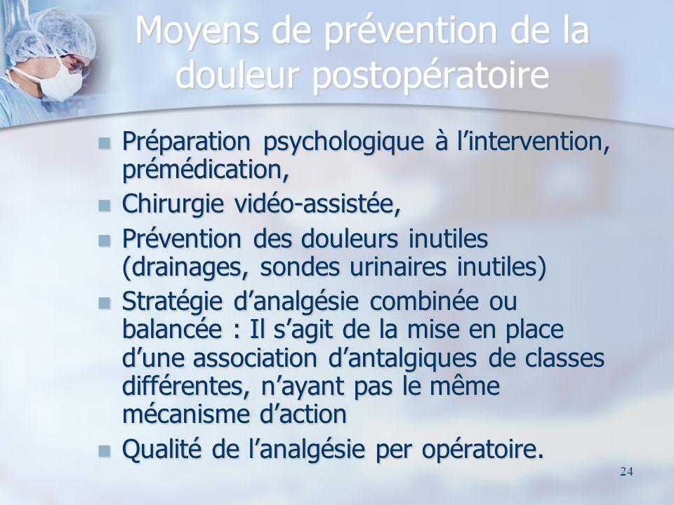 24 Moyens de prévention de la douleur postopératoire Préparation psychologique à lintervention, prémédication, Préparation psychologique à linterventi