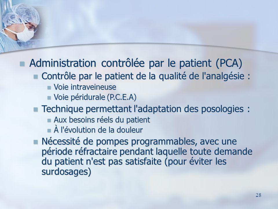 29 Administration contrôlée par le patient (PCA)