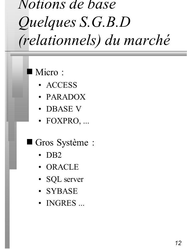 12 Notions de base Quelques S.G.B.D (relationnels) du marché Micro : ACCESS PARADOX DBASE V FOXPRO,... Gros Système : DB2 ORACLE SQL server SYBASE ING