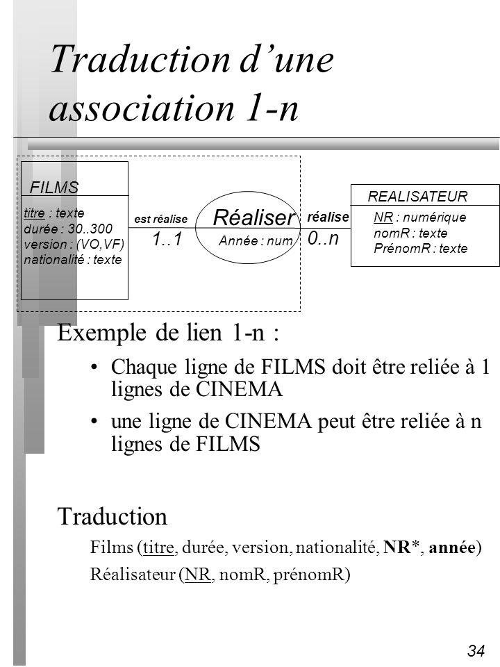 34 Traduction dune association 1-n Exemple de lien 1-n : Chaque ligne de FILMS doit être reliée à 1 lignes de CINEMA une ligne de CINEMA peut être rel