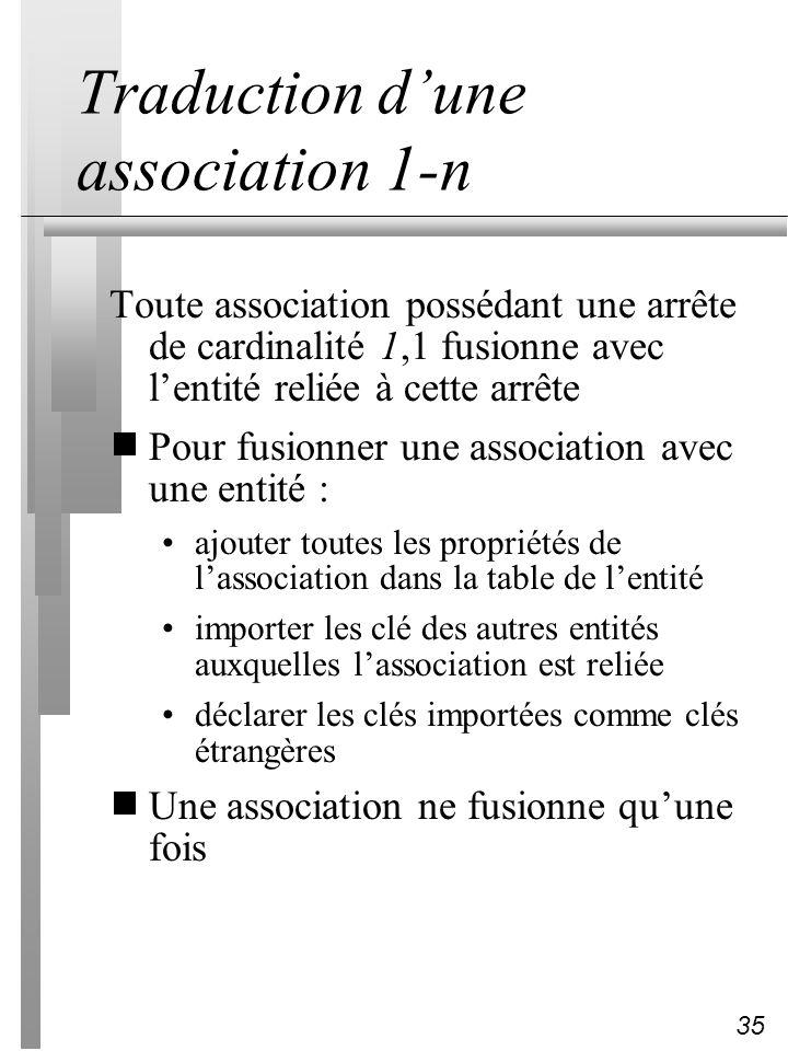 35 Traduction dune association 1-n Toute association possédant une arrête de cardinalité 1,1 fusionne avec lentité reliée à cette arrête Pour fusionne