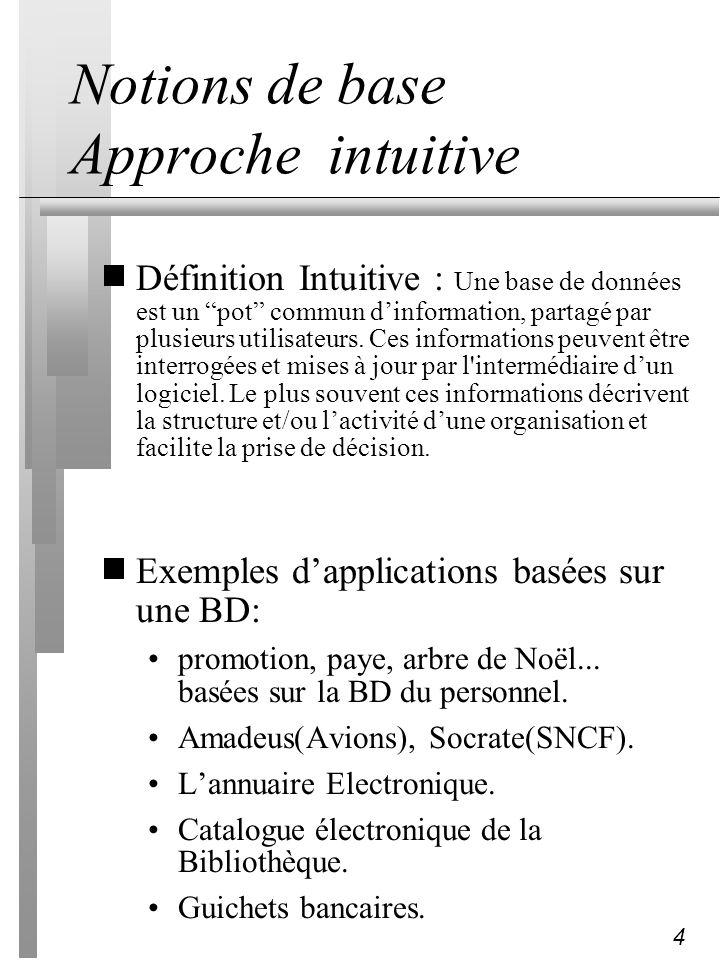 4 Notions de base Approche intuitive Définition Intuitive : Une base de données est un pot commun dinformation, partagé par plusieurs utilisateurs. Ce