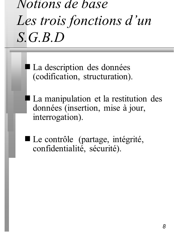 8 Notions de base Les trois fonctions dun S.G.B.D La description des données (codification, structuration). La manipulation et la restitution des donn